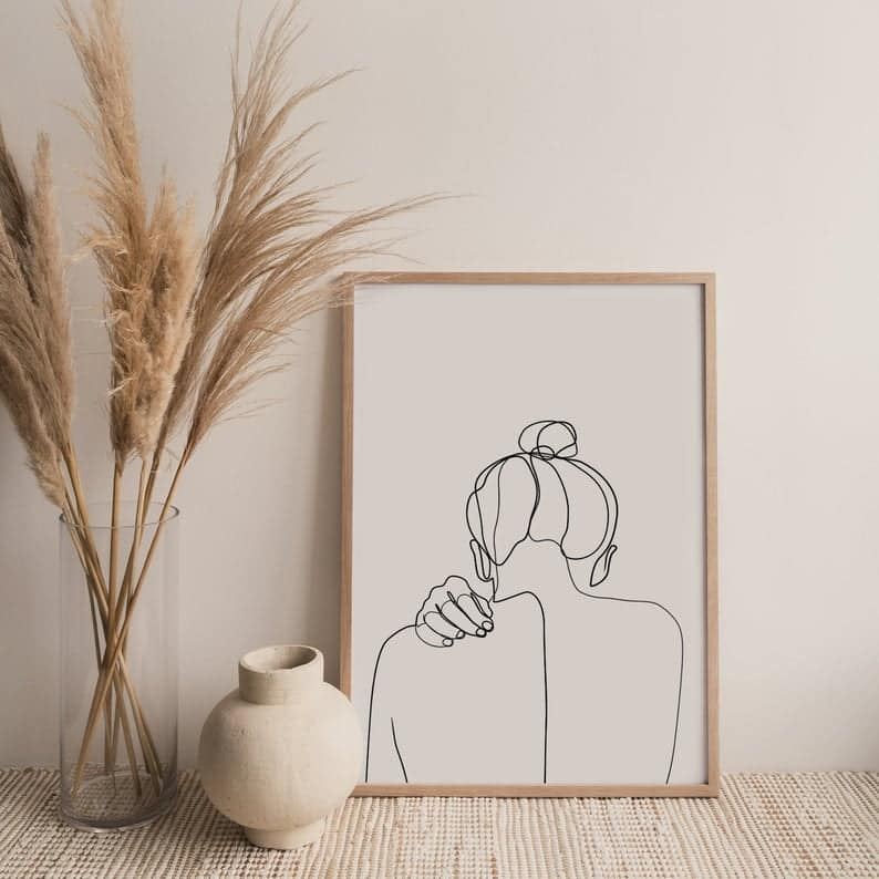 Etsy one line girl drawing