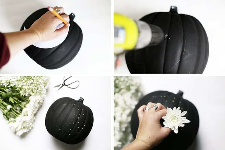 Bušenje ukrasne bundeve sa cvijećem